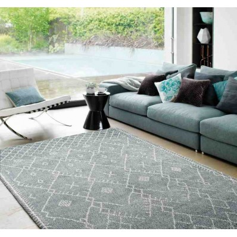 tappeto moderno geometrico Amira AM002 azzurro lana