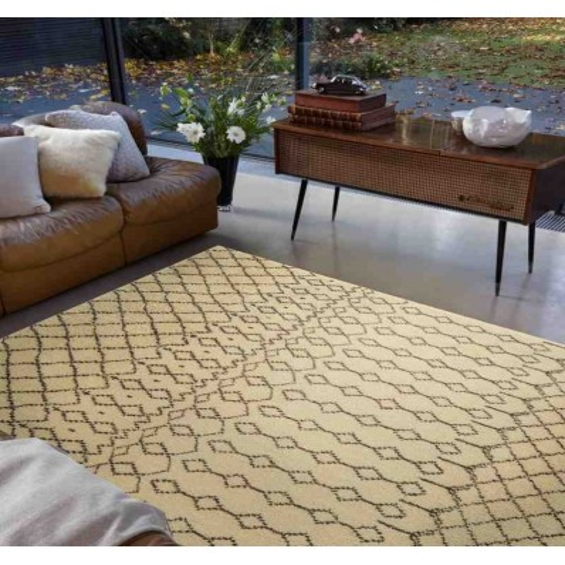 tappeto moderno geometrico Amira AM003 beige lana