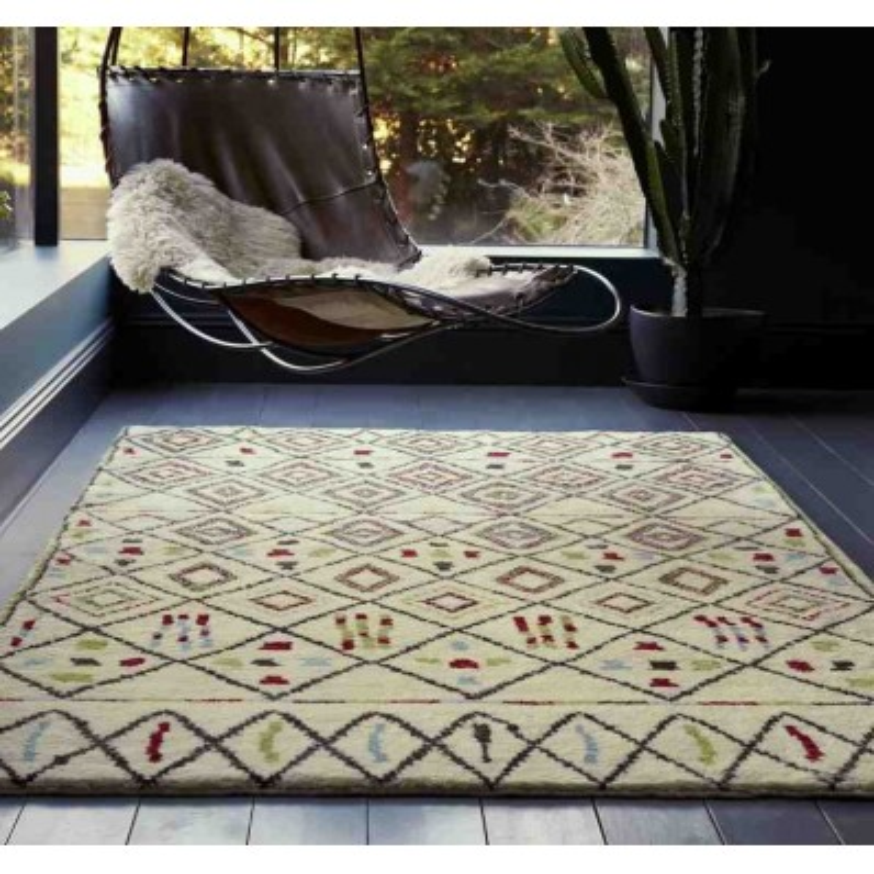 tappeto moderno geometrico Amira AM006 marrone lana
