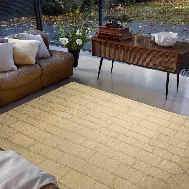 tappeto moderno geometrico Amira AM005 beige lana