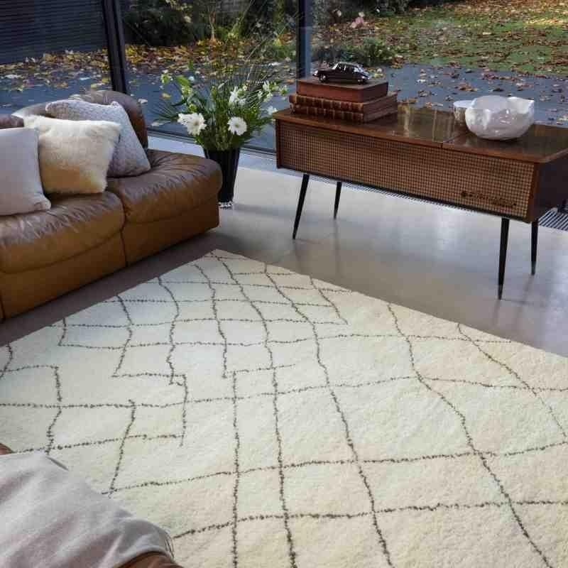 tappeto moderno geometrico Amira AMOO4 beige lana