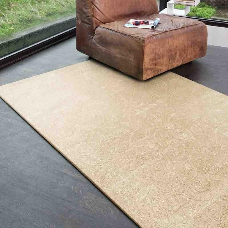tappeto moderno floreale Victoria Cream beige lana