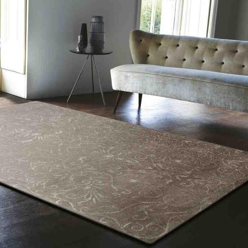 Carpet moderno floreale Victoria Stone grigio lana