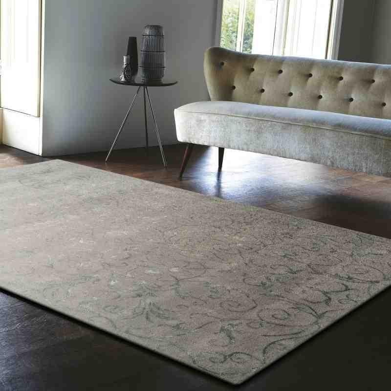 tappeto moderno floreale Victoria Silver grigio lana
