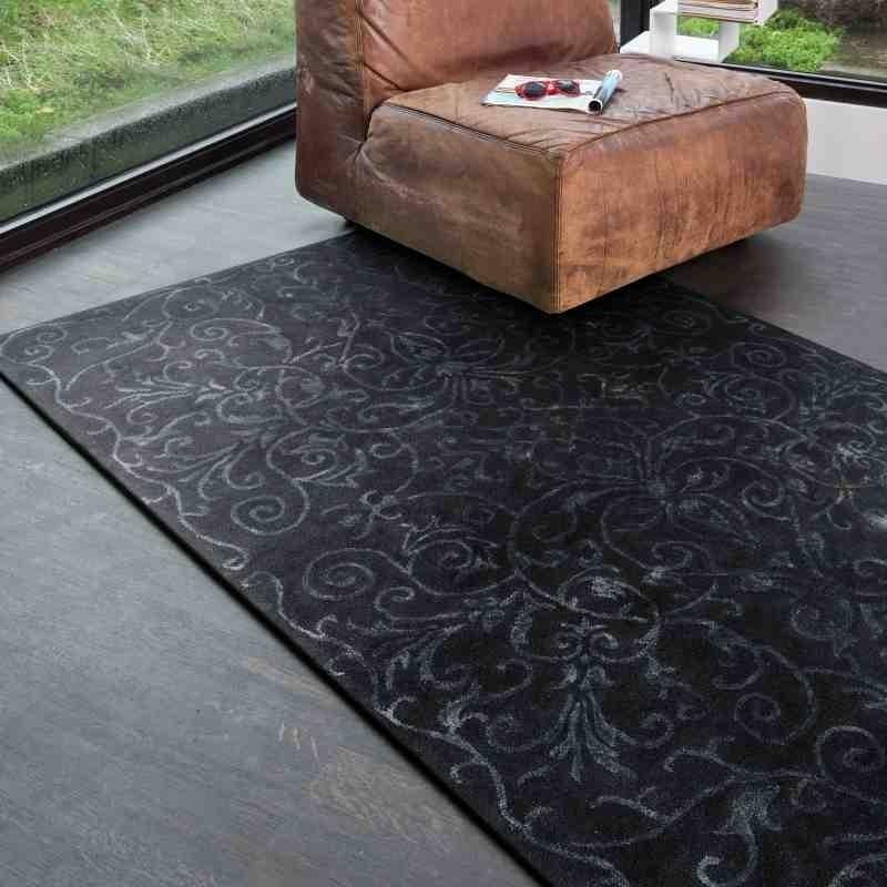 Carpet moderno floreale Victoria Midnight blu lana