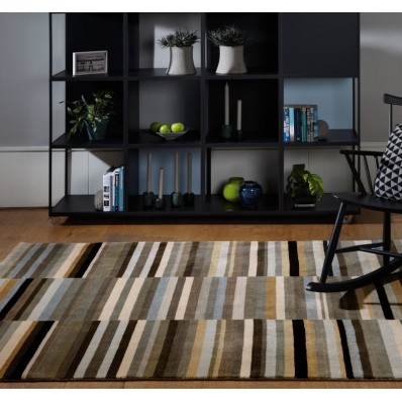 Tappeto moderno Jacob Stripe Black Silver Asiatic Carpets