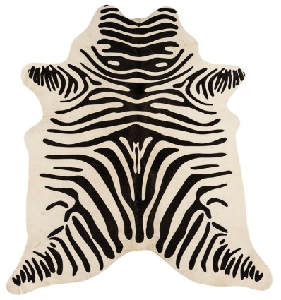 Tappeto moderno Rodeo Cowhide Zebra Print On White Asiatic Carpets