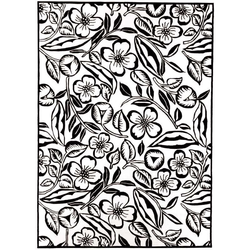 tappeto moderno Kudos Flower black white cm.170x240