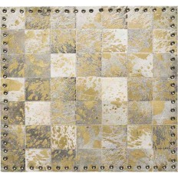 Tappeto Sitap Stringhe Pelle Lurex Ivory-Gold